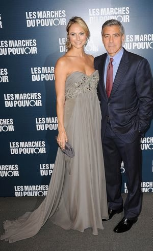 Stacy Keibler and George Clooney Paris premiere of The Descendants Oct 2011