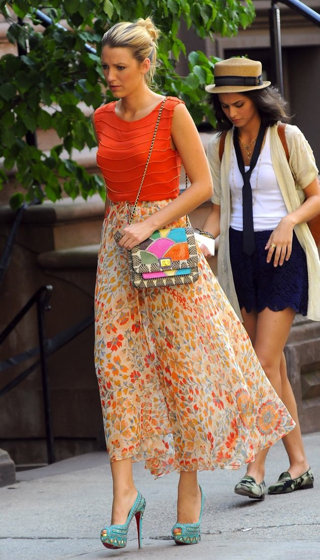 Blake Lively filming Gossip Girl New York City