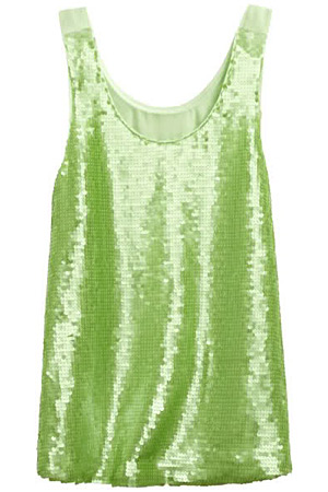 forum buys - H&M green sequined top
