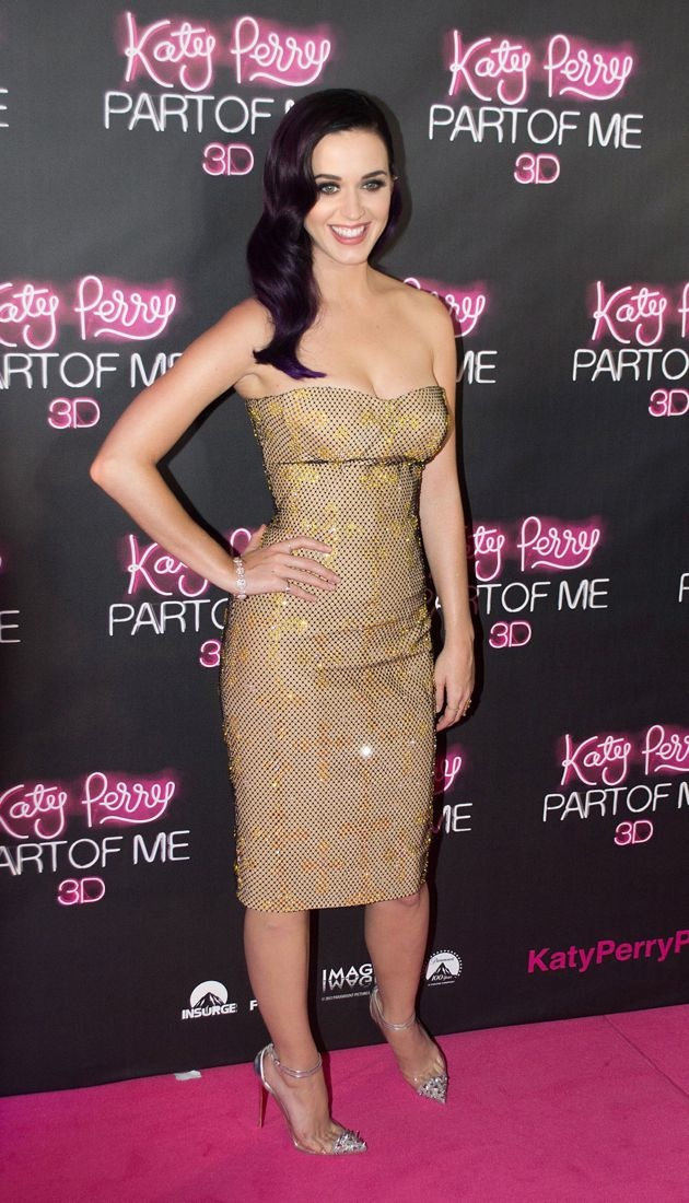 Look Of The Day Katy Perry Rocks Versace Strapless Sequin
