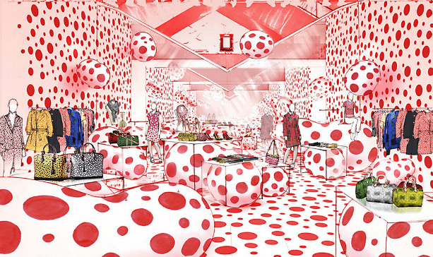 Yayoi Kusama for Louis Vuitton - pop-up shop rendering