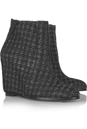 Minimarket woven ankle wedge booties