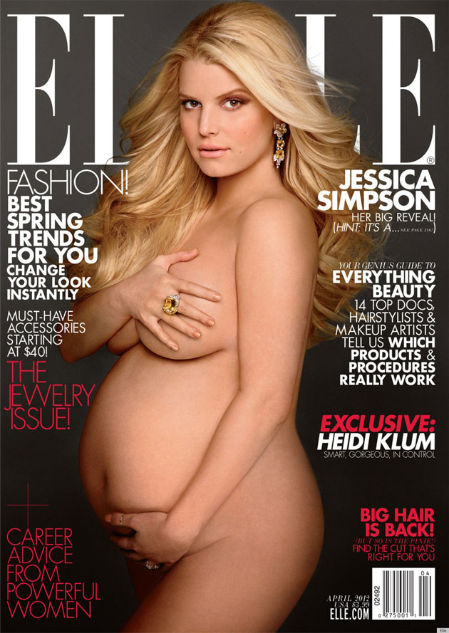 Jessica Simpson pregnant on over of Elle