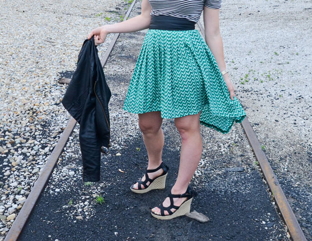 finished DIY high-low skirt