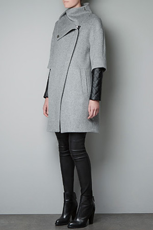 Zara grey coat with faux leather quilted sleeves - forum buys