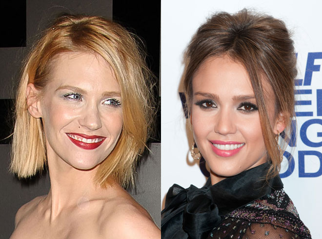 January Jones and Jessica Alba pictured side by side