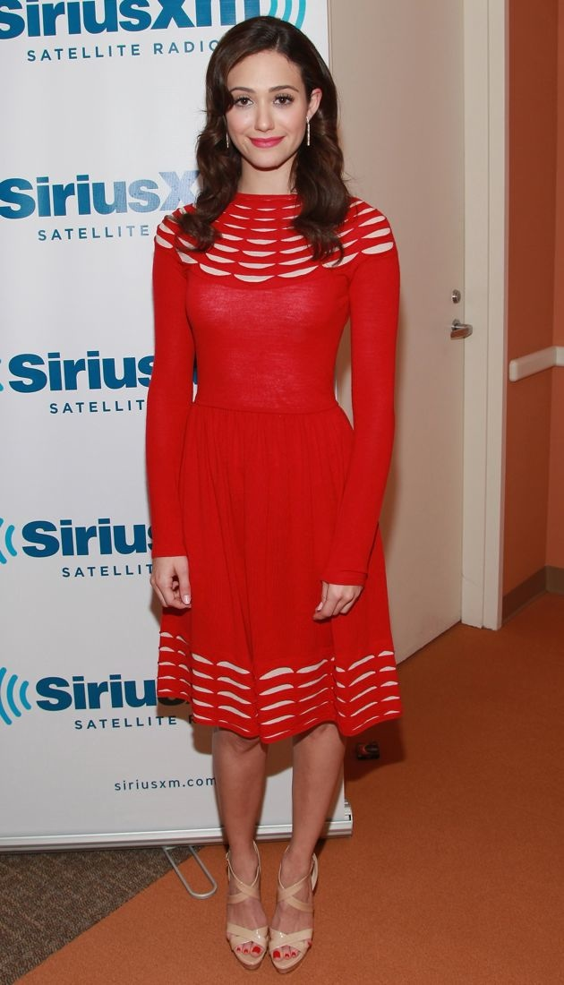 Look Of The Day Emmy Rossum S Red Knit Temperley London