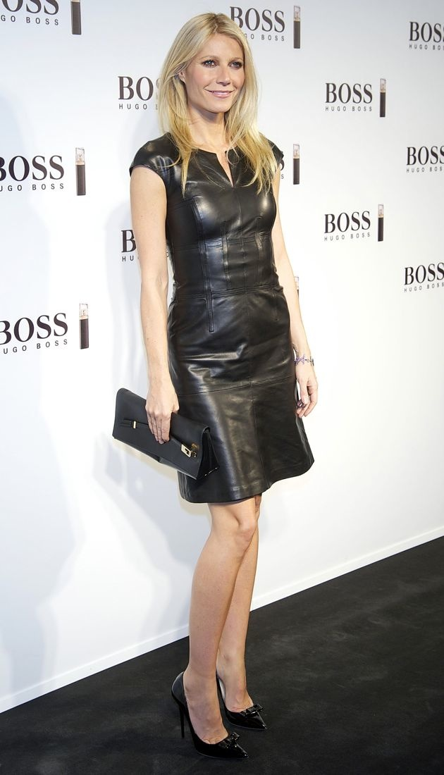 Look Of The Day Gwyneth Paltrows Black Leather Hugo Boss Dress