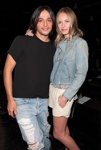 Designer Olivier Theyskens (L) and actress Kate Bosworth attend Theyskens' Theory Spring 2013 at Skylight at Moynihan Station on September 10, 2012 in New York City. (Photo by D Dipasupil/Getty Images)