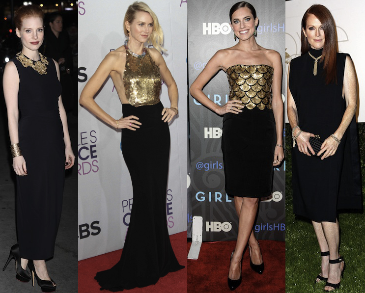 Wear This Celebrity Trend Now: Black and Gold - theFashionSpot