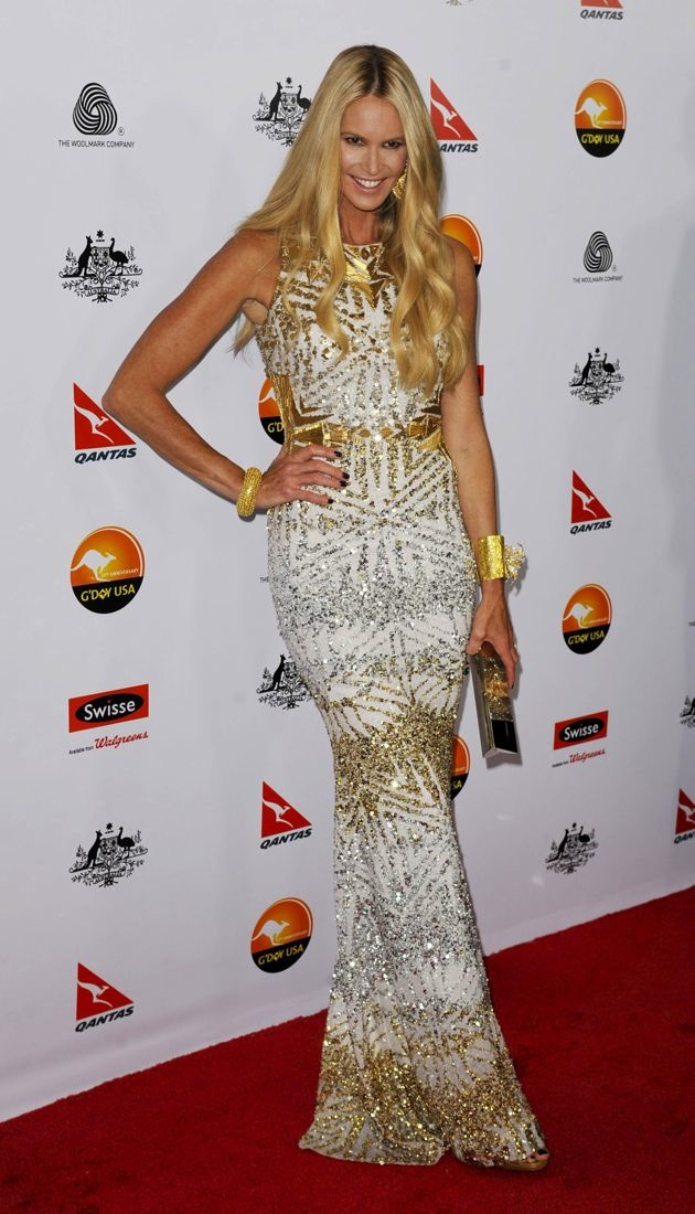 Look Of The Day Elle Macpherson Shines In Badgley Mischkas Pre Fall 2013 Metallic Medley Gown