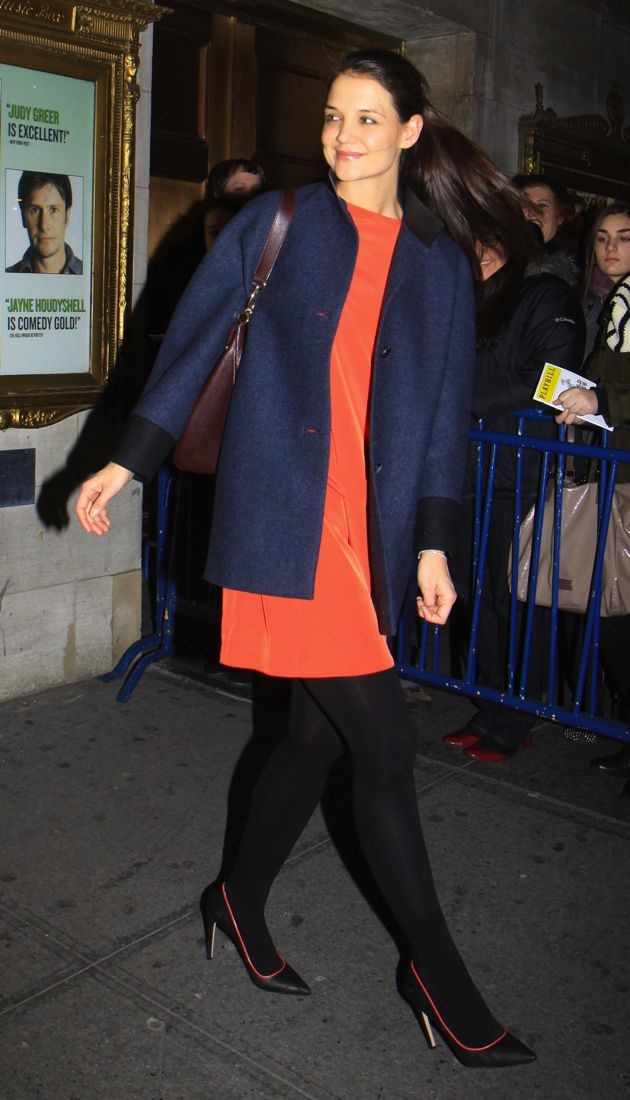 Katie Holmes leaving the Music Box theater for Dead Accounts New York City