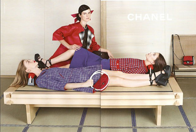 Stella Tennant, Ondria Hardin, and Yumi Lambert for Chanel Spring 2013 - photographed by Karl Lagerfeld