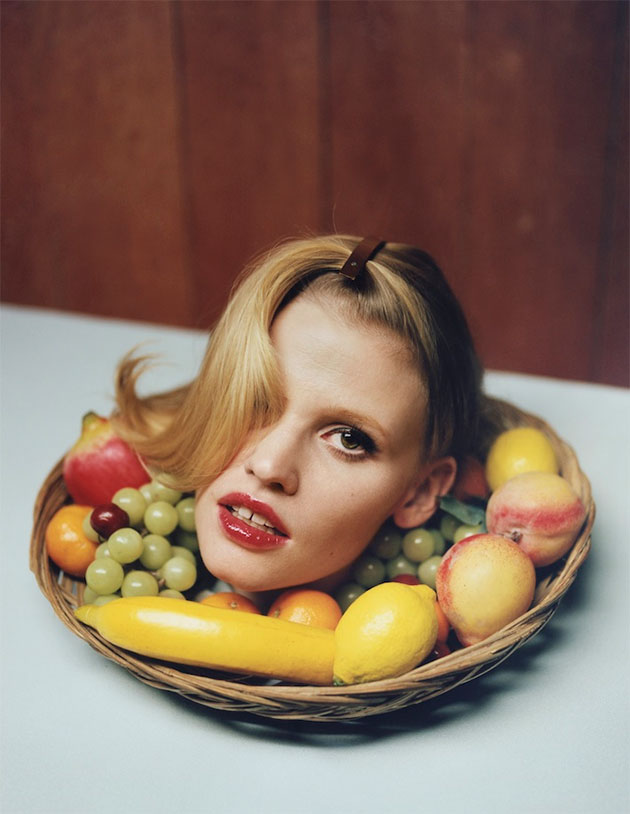 I D Serves Up Lara Stone S Head On A Platter Thefashionspot